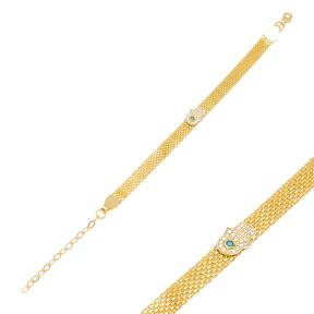 High Quality Hamsa Design Mesh Chain Bracelet Handmade Wholesale Turkish 925 Sterling Silver Jewelry