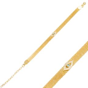 Best Selling Evil Eye Design Mesh Chain Bracelet Handmade Wholesale Turkish 925 Sterling Silver Jewelry