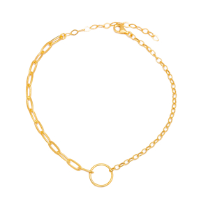 Hoop Charm Link and Cable Chain Anklet Wholesale Handmade 925 Sterling Silver Jewelry