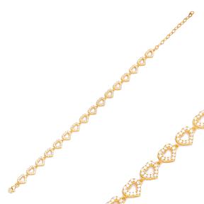 Cute Dainty Zircon Heart Design Charm Bracelet Handmade Wholesale Turkish 925 Sterling Silver Jewelry