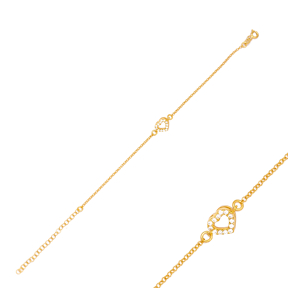 Dainty Minimalist Heart Charm Bracelet Handmade Wholesale Turkish 925 Sterling Silver Jewelry