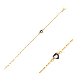 New Arrival Black Zircon Stone Heart Charm Bracelet Handmade Wholesale Turkish 925 Sterling Silver Jewelry