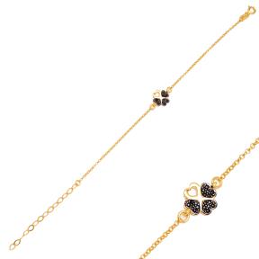 Unique Four Clover Design Black Zircon Stone Charm Bracelet Handmade Wholesale Turkish 925 Sterling Silver Jewelry