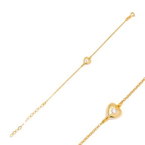 Love Heart Zircon Stone Charm Bracelet Handmade Wholesale Turkish 925 Sterling Silver Jewelry