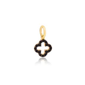 Four Clover Black Zircon Stone Charm Wholesale Handmade Turkish 925 Silver Sterling Jewelry