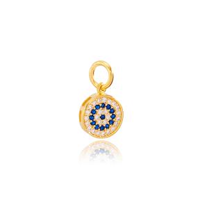 Elegant Round Design Sapphire and Zircon Stone Charm Wholesale Handmade Turkish 925 Silver Sterling Jewelry