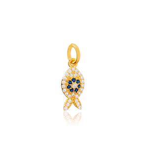 Animal Fish Shape Sapphire and Zircon Stone Charm Wholesale Handmade Turkish 925 Silver Sterling Jewelry