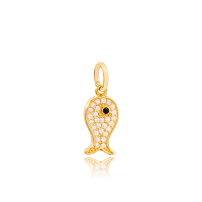 Black Eye Fish Dangle Zircon Stone Charm Wholesale Handmade Turkish 925 Silver Sterling Jewelry