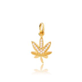Leaf Zircon Stone Dangle Charm Wholesale Handmade Turkish 925 Silver Sterling Jewelry