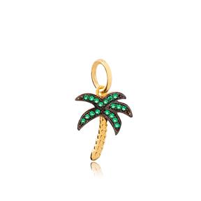 Palm Tree Emerald Stone Dangle Charm 925 Sterling Silver Wholesale Turkish Jewelry