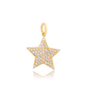 Stylish Star  Dangle Charm Handmade Wholesale Turkish  925 Sterling Silver Jewelry