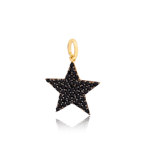 Black Star Necklace Charm 925 Sterling Silver  Handmade Wholesale Turkish  Jewelry