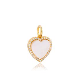 White Enamel Heart Design Dangle Charm Handmade Turkish  Wholesale  925 Sterling Silver Jewelry