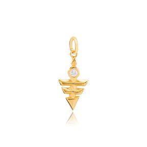 Unique Triangle Shape Handmade Turkish  Wholesale  925 Sterling Silver Dangle Charm Jewelry