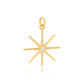 North Star Zircon Stone Detailed Dangle Charm  925 Sterling Silver Wholesale Turkey  Jewelry