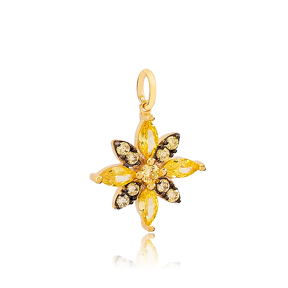 Flower Citrine and Black Stone Detailed Dangle Charm  925 Sterling Silver Wholesale Turkish  Jewelry