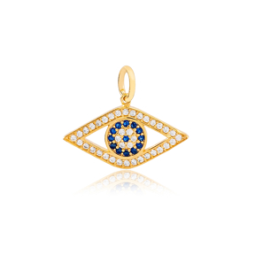 Sapphire and Zircon Stone Evil Eye Design Handmade Charm 925 Sterling Silver Wholesale Turkish Jewelry