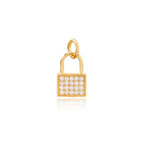 Padlock Zircon Stone Necklace Pendant Charm Handmade 925 Sterling Silver Wholesale Turkish Jewelry