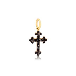 Cross Design Black Zirconia Stone  Handmade 925 Sterling Silver Wholesale Turkish Necklace Charm Jewelry
