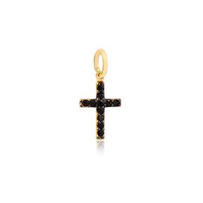 Symbolic Cross Design Black Zirconia Stone Necklace Charm  Handmade  Wholesale Turkish  925 Sterling Silver Jewelry