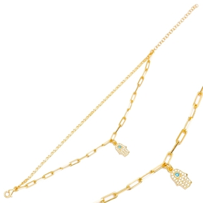 Hamsa Design Turquoise and Zircon Stone Charm Layered Chain Charm Bracelet Handmade Wholesale Turkish 925 Sterling Silver Jewelry
