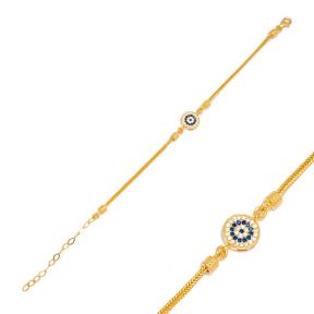 Round  Sapphire and Zircon Charm Handmade Wholesale Turkish 925 Sterling Silver Bracelet Jewelry