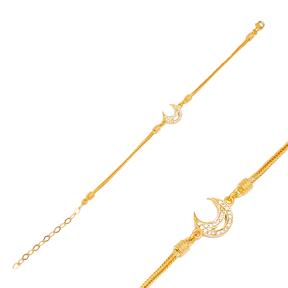 Trendy Moon 925 Sterling Silver Handmade Wholesale Turkish  Charm Bracelet Jewelry