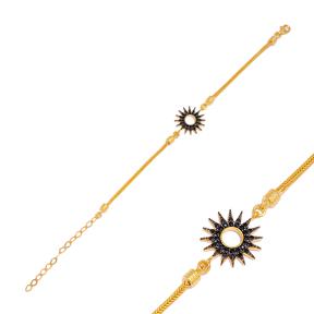 Sun Black Zircon Charm Bracelet Handmade Wholesale Turkish  925 Sterling Silver Jewelry