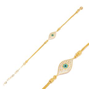 Trend Evil Eye 925 Sterling Silver Handmade Wholesale Turkish Charm Bracelet  Jewelry