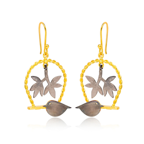 Oxidized Bird and Leaf Design 22K Gold Plated Dangle Earrings Turkish Wholesale Handmade 925 Sterling Silver Jewelry