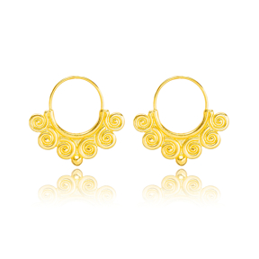 Spiral Vintage Style 22K Gold Plated Dangle Earrings  Handcrafted Theia Wholesale 925 Sterling Silver Jewelry