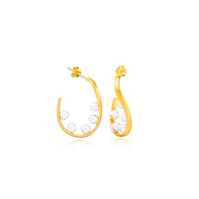 Multi Pearl Design 22K Gold Plated Turkey Handmade 925 Sterling Silver Stud Earrings Jewelry