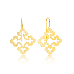 Four Clover Vintage Style 22K Gold Plated Dangle Earrings  Handcrafted Theia Wholesale 925 Sterling Silver Jewelry