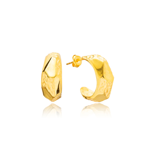 New Plain 22K Gold Plated  Handcrafted Wholesale 925 Sterling Silver Stud Earrings Jewelry