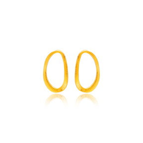 Oval Geometric Design 22K Gold Plated Stud Earrings Handcrafted Wholesale 925 Sterling Silver Turkey Jewelry