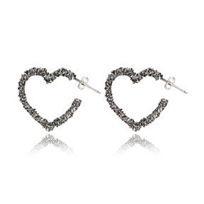 Heart Oxidized Plated Design Handcrafted Turkish Wholesale 925 Sterling Silver Stud Earrings Jewelry