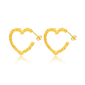Heart 22K Gold Plated Stud Earrings Handcrafted Turkish Wholesale 925 Sterling Silver Jewelry