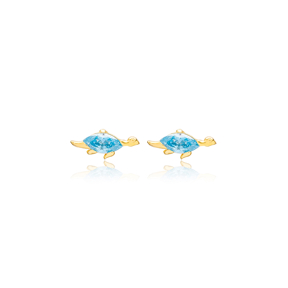 Aquamarine Turtle Design Stud Earrings Handcrafted Turkish Wholesale 925 Sterling Silver Jewelry