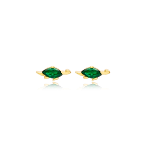 Turtle Emerald Stone Stud Earrings Handcrafted Turkish Wholesale 925 Sterling Silver Jewelry