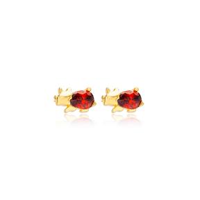Rhinoceros Garnet Stone Stud Earrings Handcrafted Turkish Wholesale 925 Sterling Silver Jewelry