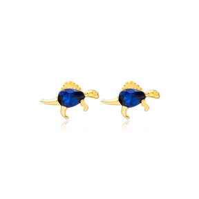 Dragon Sapphire Stone Stud Earrings Handcrafted Turkish Wholesale 925 Sterling Silver Jewelry