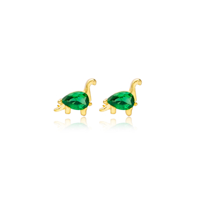 Emerald Dinosaur Handcrafted Turkish Wholesale 925 Sterling Silver  Stud Earrings Jewelry
