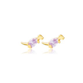 Dinosaur Amethyst Handcrafted Turkish Wholesale 925 Sterling Silver  Stud Earrings Jewelry
