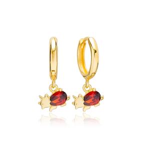 Garnet Rhinoceros Shape Handmade Turkish Wholesale 925 Sterling Silver Dangle Earrings Jewelry