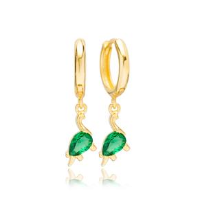 Dinosaur Emerald Design Dangle Earrings Handmade Turkish Wholesale 925 Sterling Silver Jewelry