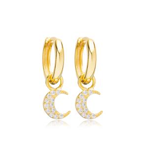 Moon Charm Ø12mm Hoop Dangle Earrings Design Handmade Turkish Wholesale 925 Sterling Silver Jewelry