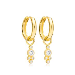 Multi Round Geometric Design Handmade Turkish Wholesale 925 Sterling Silver Dangle Earrings Jewelry