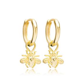 Housefly Animal Shape Plain Dangle Earrings Handmade Turkish Wholesale 925 Sterling Silver  Jewelry