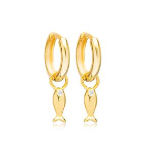 Fish Animal Charm 12mm Hoop Dangle Earrings Handmade Turkish Wholesale 925 Sterling Silver  Jewelry