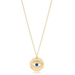 Sapphire Evil Eye Design Charm Necklace Handmade Turkish 925 Sterling Silver Jewelry